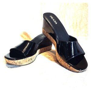 PRADA Patent Leather & Cork Wedges. Size 38